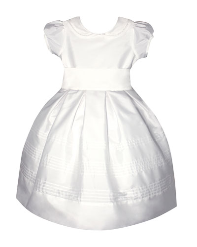 Silk Pintucked Dress w/ Embroidered Peter Pan Collar, Size 6-8