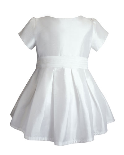 Short-Sleeve Silk Special Occasion Dress, Size 2-8