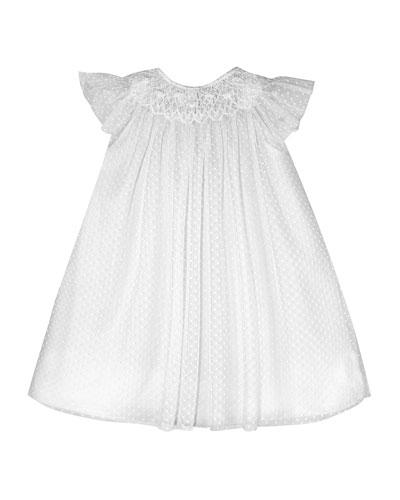 Angelic Smocked Swiss Dot Bishop Dress, Size 3-12 Months
