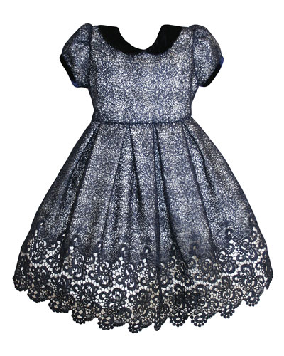 Floral Mesh Lace Velvet-Trim Dress, Size 2-8