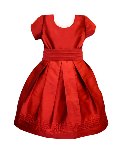 Pintucked Taffeta Dress, Size 4-6