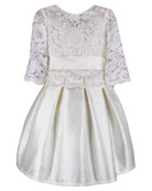 Isabel Garreton Fable Silk Dress w/ Lace Overlay
