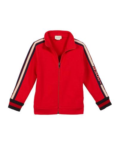 Zip-Up Jacket w/ Logo Taping Sleeves, Size 4-12