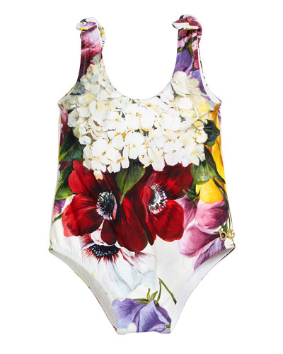 Floral Scoop-Neck One-Piece Swimsuit, Size 6-30 Months