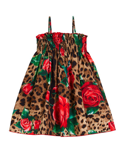 Smocked Leopard & Roses Spaghetti-Strap Dress, Size 8-12