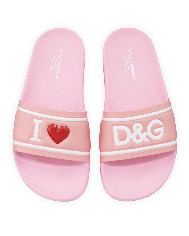 Dolce & Gabbana LEATHER I HEART D & G POOL SLIDE SANDALS, KIDS