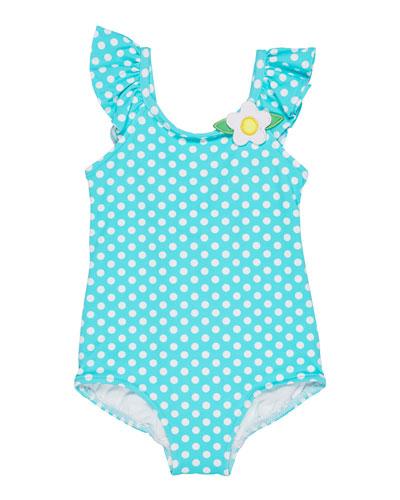 Polka-Dot Ruffle-Sleeves One-Piece Swimsuit, Size 2-4
