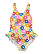 Florence Eiseman Multicolored Lifesaver-Print One-Piece Swimsuit,