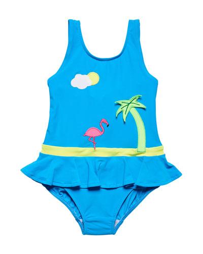 Tropical Scene One-Piece Swimsuit, Size 2-6X