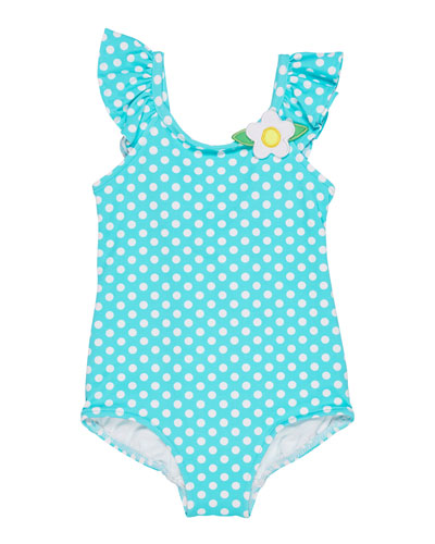 Polka-Dot Ruffle-Sleeves One-Piece Swimsuit, Size 6-24 Months
