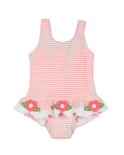 Striped Seersucker Ruffle-Skirt One-Piece Swimsuit, Size 6-24 Months
