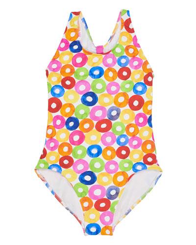 Multicolored Lifesaver-Print Cutout Back One-Piece Swimsuit, Size 7-14