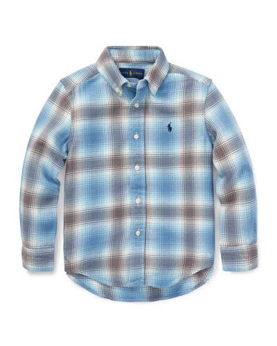 Long-Sleeve Plaid Button-Down Shirt, Size 5-7