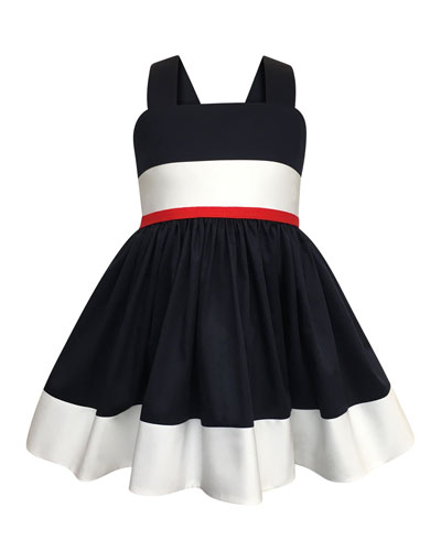 Colorblock Bow-Back Sun Dress, Size 7-14
