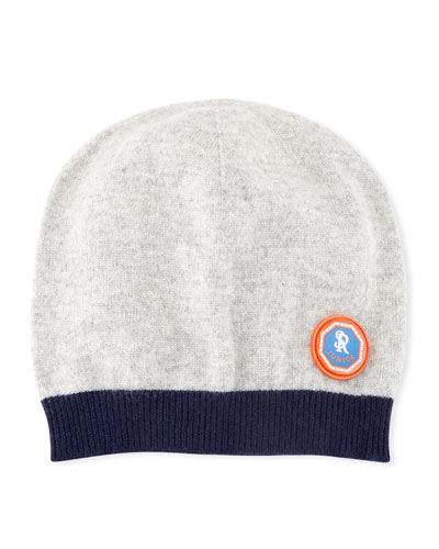 Kids' Two-Tone Cashmere Beanie Hat