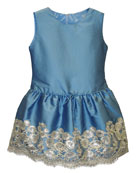 Isabel Garreton Taffeta Sequin-Hem Sleeveless Dress, Size 2-3