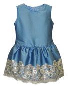 Isabel Garreton Taffeta Sequin-Hem Sleeveless Dress, Size 7-10