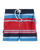 Ralph Lauren Childrenswear Kailua Striped Swim Trunks, Size