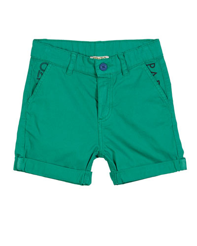 Colored Logo-Pockets Bermuda Shorts, Size 12-18 Months