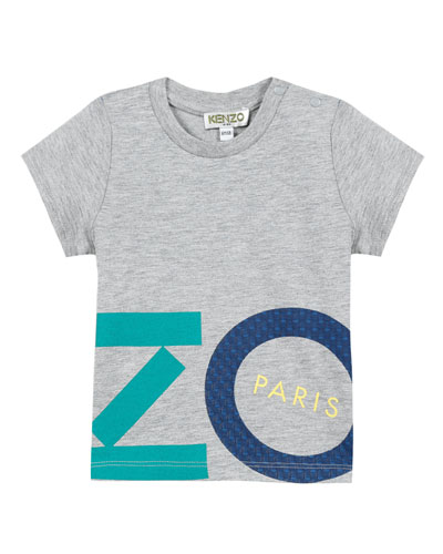 Multicolored Logo Lettering Print T-Shirt, Size 2-4