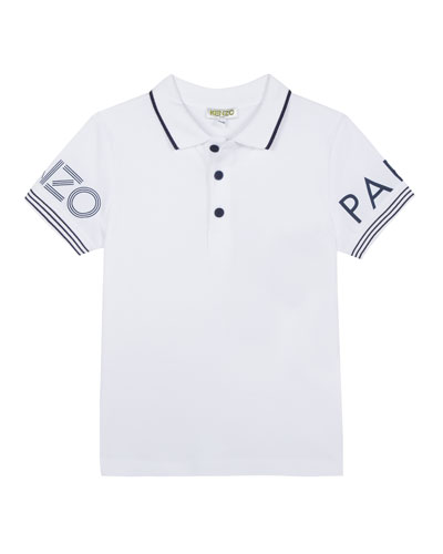 Logo-Sleeves Polo Shirt, Size 5-6