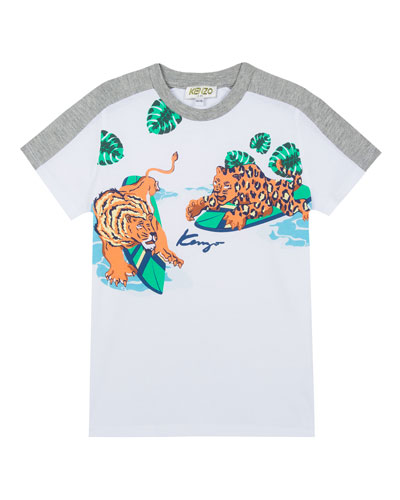 Surfing Tiger Friends Graphic Mixed Material T-Shirt, Size 5-6