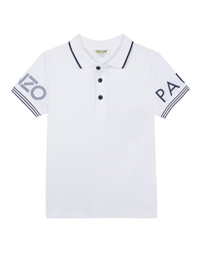 Logo-Sleeves Polo Shirt, Size 8-12