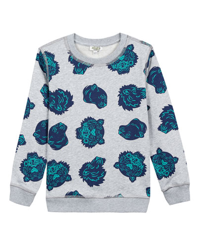 Allover Tiger Head-Print Sweatshirt, Size 5-6