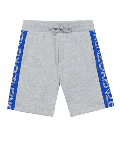 Logo-Sides Mixed Material Fleece Bermuda Shorts, Size 5-6