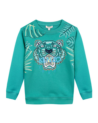 Botanical Tiger Embroidered Sweatshirt, Size 2-4