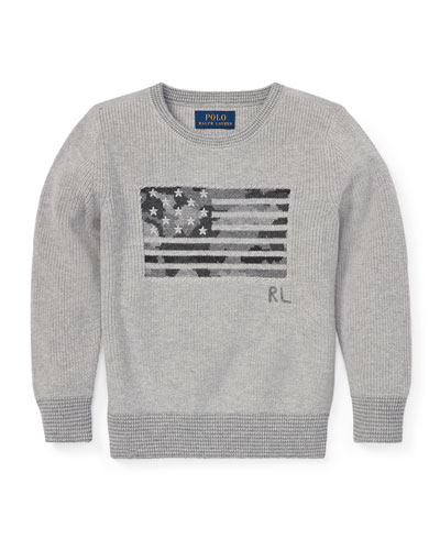 Camo American Flag Knit Sweater, Size 5-7