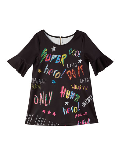 Bell-Sleeve Graffiti-Print Scuba Dress, Size 4-6