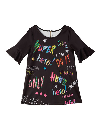 Bell-Sleeve Graffiti-Print Scuba Dress, Size 7-14
