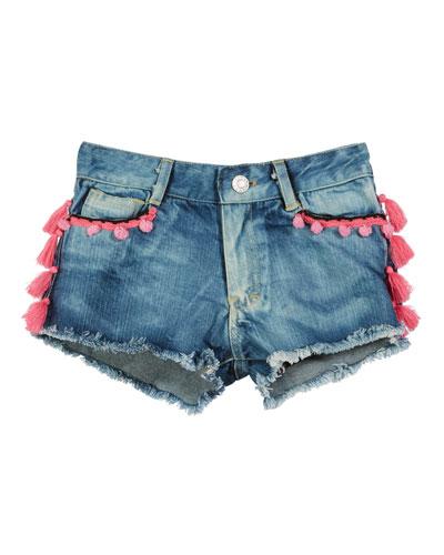 Tassel & Pompom Raw-Edge Denim Shorts, Size S-XL