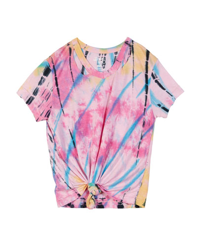 Short-Sleeve Slit-Neck Tie-Dye Tee w/ Knotted Front, Size S-XL