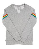 Flowers by Zoe Sweatshirt w/ Rainbow Striped Sleeves,