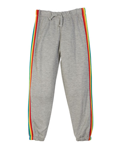 Drawstring Sweatpants w/ Rainbow Taping, Size S-XL