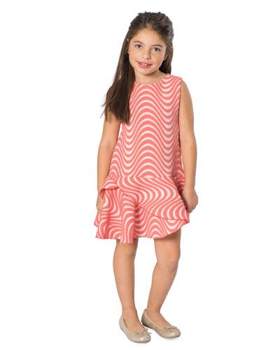 Metallic Wave Jacquard Dress, Size 4-6X