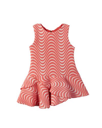 Metallic Wave Jacquard Dress, Size 7-16