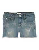 Hudson Girls' Celestina Distressed Studded Star Shorts, Size