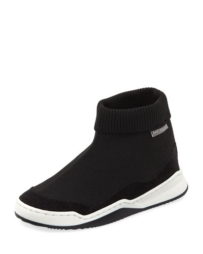 Suede-Trim Sock Sneaker, Toddler