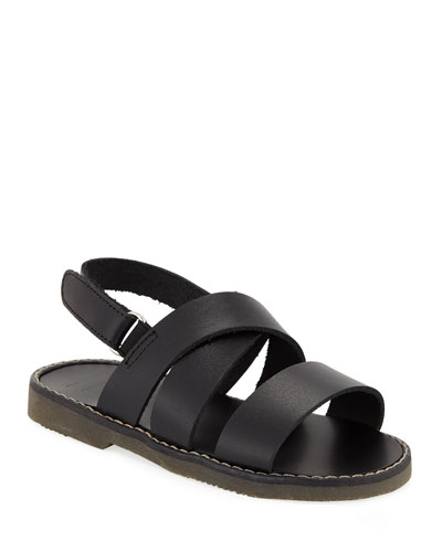 Fisherman Leather Crisscross Strap Sandal, Toddler