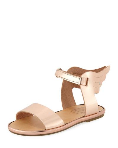 Metallic Leather Wing Sandal, Toddler