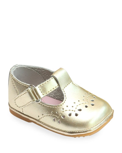 Birdie Metallic Leather T-Strap Brogue Mary Jane, Baby