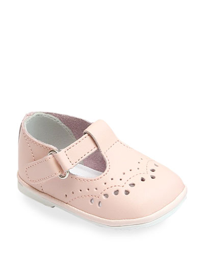 Birdie Leather T-Strap Brogue Mary Jane, Baby