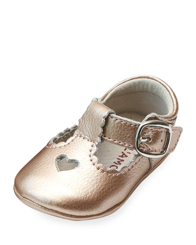 Rosale Heart Cutout Metallic Leather Mary Jane Crib Shoes, Baby