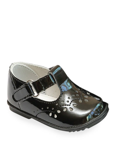 Birdie Patent Leather T-Strap Brogue Mary Jane, Baby