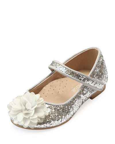 Alice Sparkly Glitter Flower Flats, Baby/Toddler/Kids