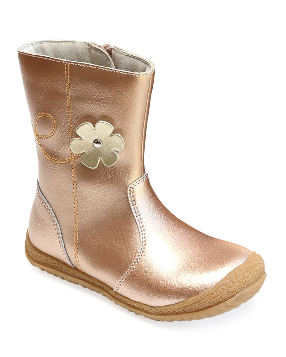 Madison Metallic Leather Flower Mid-Top Boot, Baby/Toddler/Kids