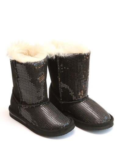 Carol Sequin Boots w/ Faux-Fur Lining, Baby/Toddler/Kids
